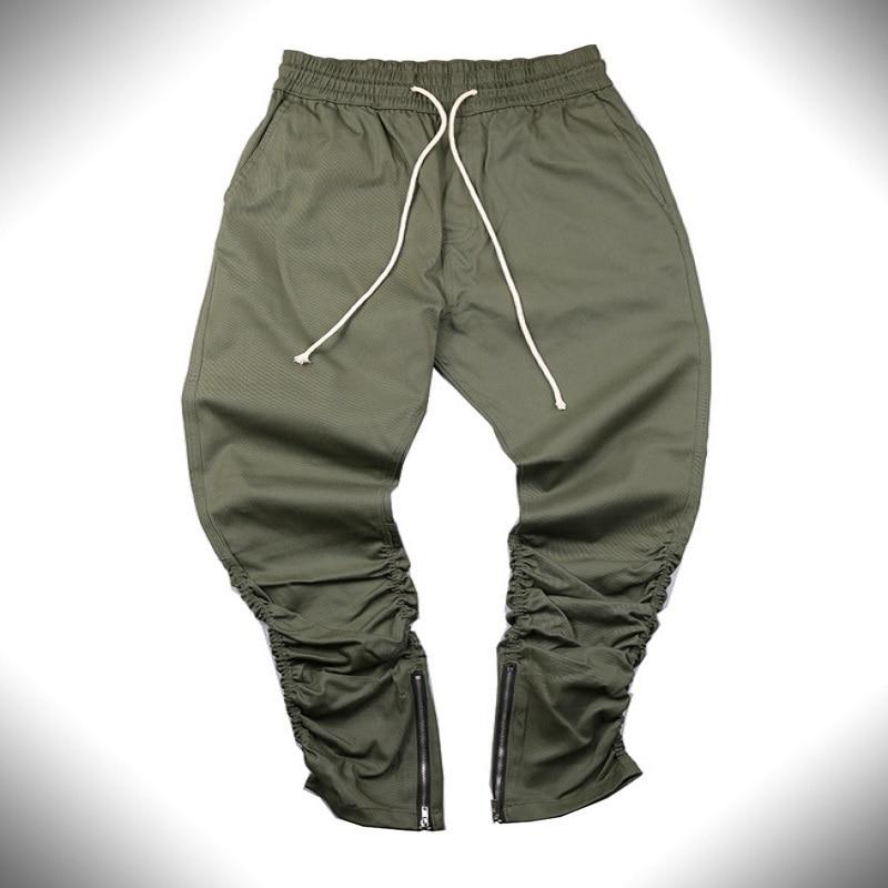 Джастин бибер марка стиль боковой молнии мужская slim fit повседневная мужские hip hop jogger байкер брюки swag тренировочные брюки узкие брюки оливковое