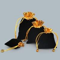 20 Cái Nhung Vàng Trim Dây Kéo Pouch Đối Với Trang Sức Túi Quà Tặng Đen Giáng Sinh/Wedding Gift Túi 7x9 cm, 8x10 cm, 10x12 cm, 12x16 cm