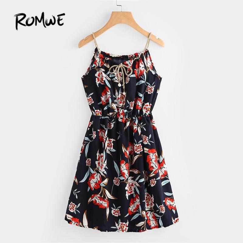ROMWE Women Dress Summer 2017 Navy Sleeveless A Line Dress Spaghetti Strap Floral Print Random Self Tie Cami Dress