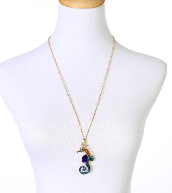 Women's Enamel Sea Horse Necklace 3