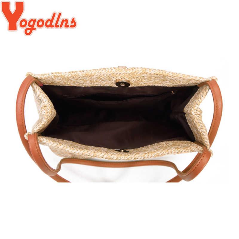 Yogodlns, bolso de paja para mujer, bolso de playa bohemio de ratán, bolso cruzado de punto hecho a mano, bolso de playa con borla de verano