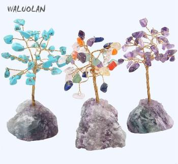 WALUOLAN 8CM Tall Crystal Lucky Money Stone Tree Figurine Ornaments Feng Shui for Wealth and Luck Home Office Decor BirthdayGift