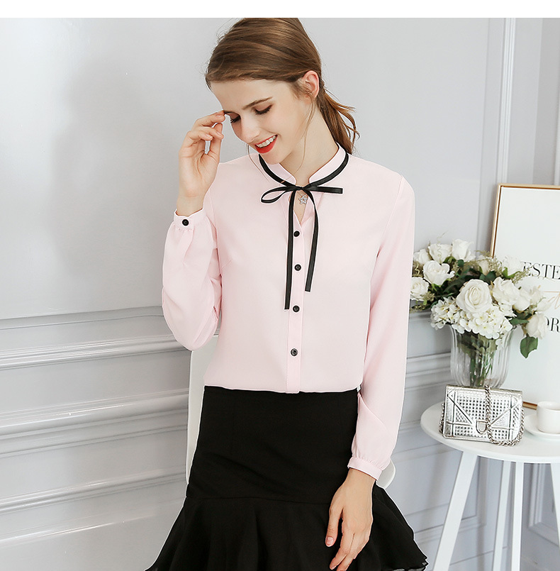 5fb5b5bd7cc0 ih New Spring Autumn Tops Office Ladies Blouse Fashion Long Sleeve Bow Slim  White Shirt Female Cute Bodycon Work Blouses Blusas-in Blouses & Shirts  from ...