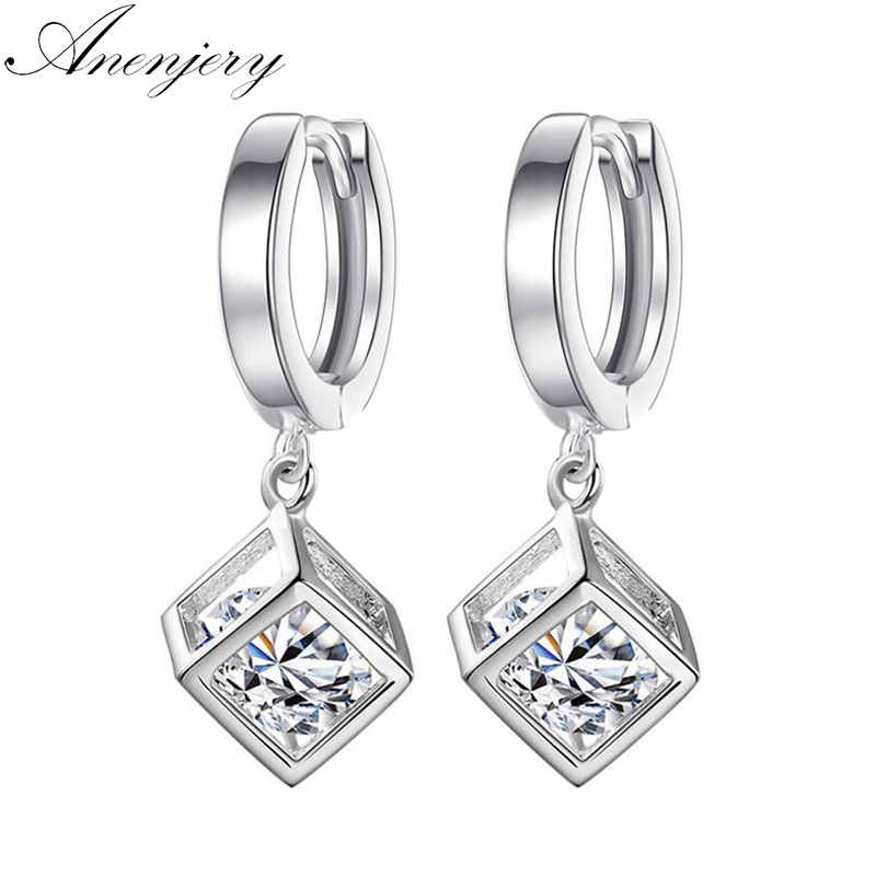 Anenjery 925 Sterling Silver Cube Love Window Zircon Sugar Drop Earrings For Women brincos Best Gift S-E228