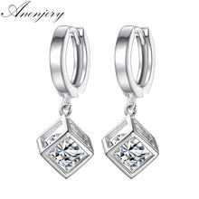 ANENJERY – boucles d'oreilles carrées en argent Sterling 925 pour femmes, bijoux en Zircon, cadeau de mariage, S-E228