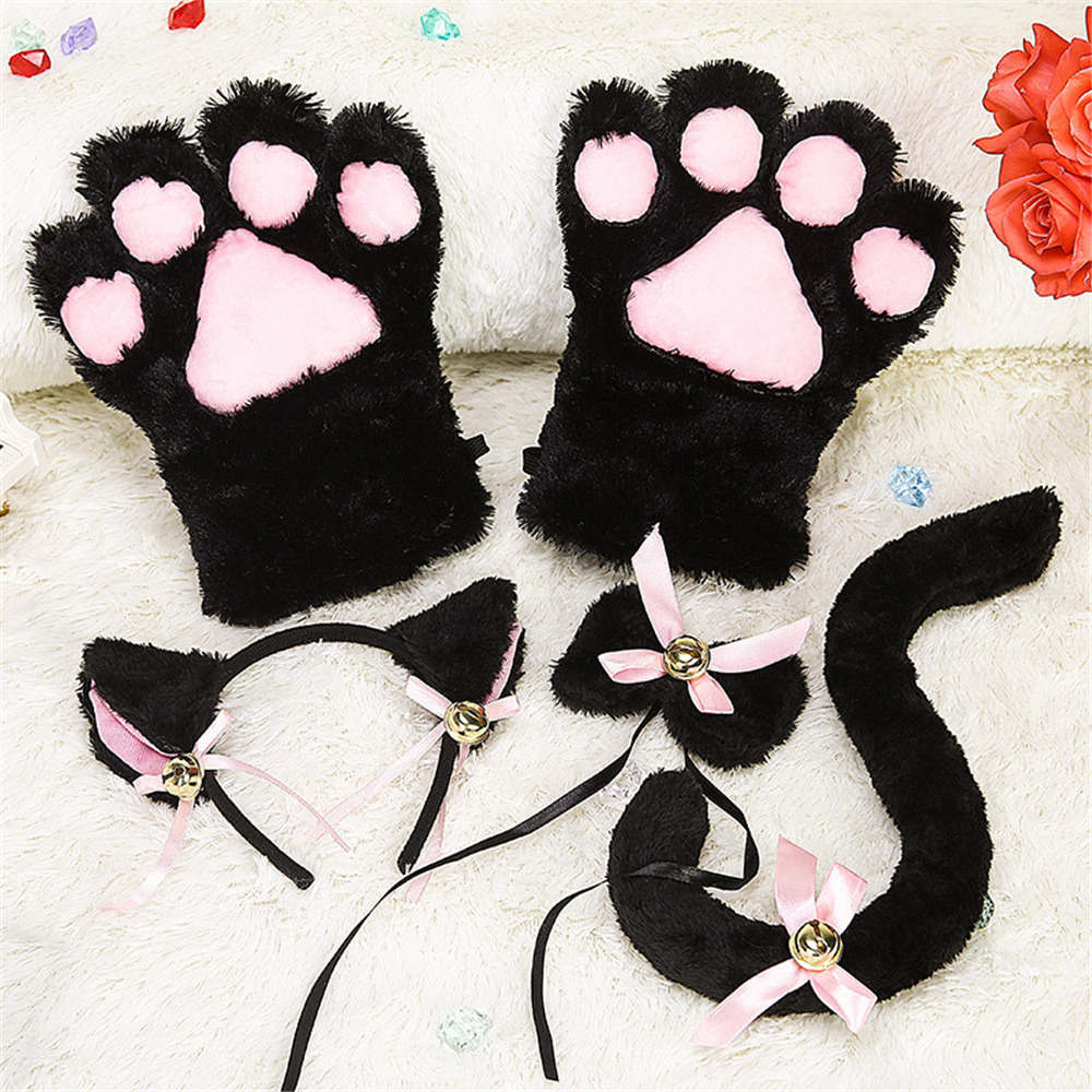 Anime Cosplay Costume Accessory Hairwear Hairbands With Cat Ears Fantasy Set Maid Lolita Plush Glove Tail Paw Ear