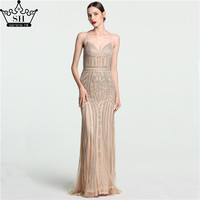 Luxury Dubai Spaghetti Straps Mermaid Evening Dresses 2017 New Champagne Crystal Low Back Long Party Gowns Robe De Soiree