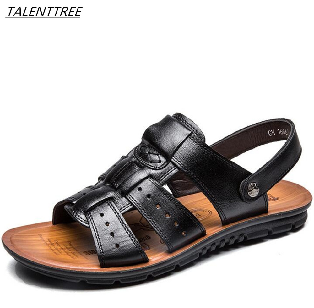 2018 Genuine Leather Men Sandals Hand Sewing Men slip on Summer Shoes Breathable Beach Shoes Summer Men comfortable sandals