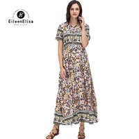 Vintage Dresses For Women 2018 Flower Print Dress Summer Runway Long Dresses pink