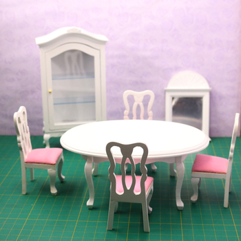 G07-X054 children baby gift Toy 1:12 Dollhouse mini Furniture Miniature rement Doll accessories flannel dining hall  7pcs/set