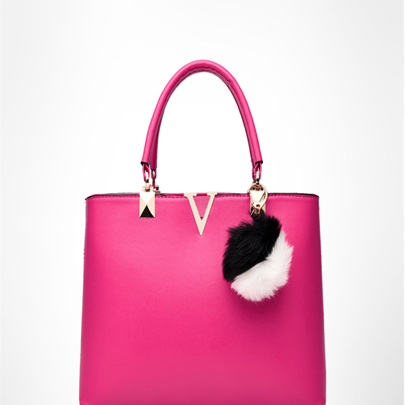Women V Letters PU Leather Tote Bag