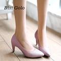 Nueva moda de punta estrecha zapatos de las mujeres 2017 púrpuras del alto talón bombas de las mujeres de primavera y verano zapatos de fiesta de oro señoras de las mujeres zapatos de tacón