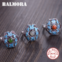 BALMORA 925 Sterling Silver cloisonné style Flower Open Rings for Women Party Vintage Fashion Gorgeous Jewelry Anillos SY22210