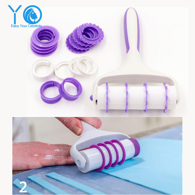 Newest Cake Roller Set Rolled Fondant Decorative Border Tools Pastry Cutters Cake Decorating Tools Baking Pastry