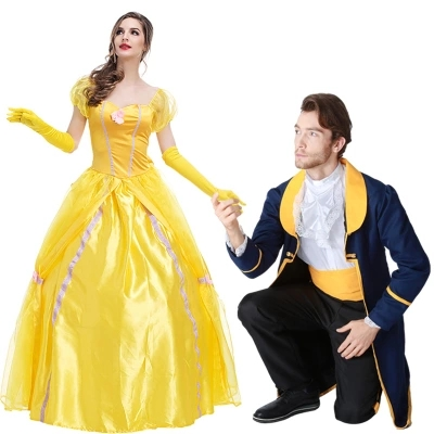Hot Movie Couple Beauty And The Beast Jumpsuit Halloween Party Festival Adultos Carnival Cosplay Costume Adult Unisex Costume