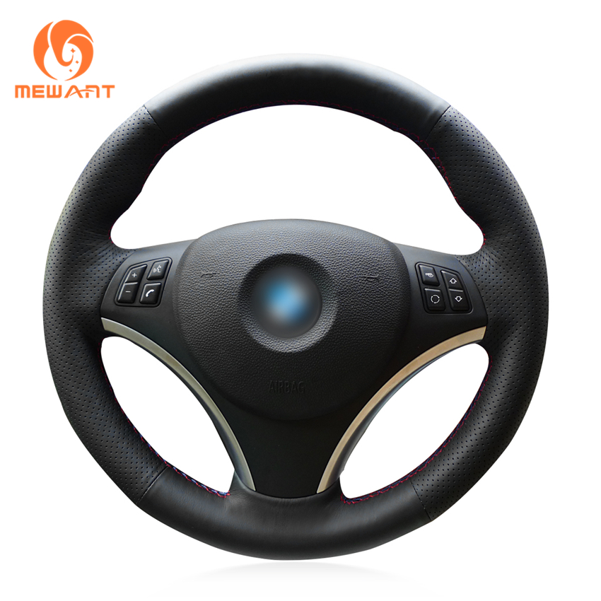 MEWANT Black Artificial Leather Car Steering Wheel Cover for BMW E90 320i 325i 330i 335i E87 120i 130i 120d