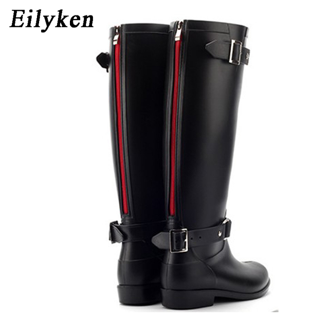 Eilyken 펑크 스타일 지퍼 높이 부츠 여성의 순수한 컬러 장화 야외 고무 물 신발 여성 36 41 플러스 사이즈