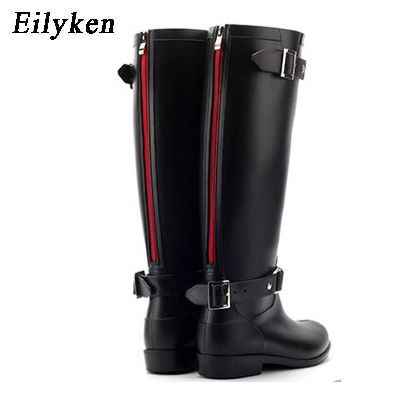 Eilyken Punk Style Zipper Tall Boots Women's Pure Color Rain Boots Outdoor Rubber Water shoes For Female 36-41 Plus size