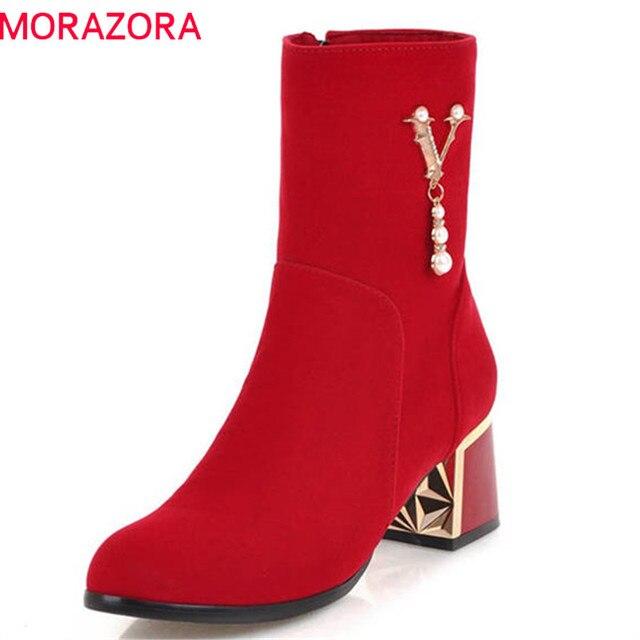 MORAZORA 2020 ホット販売アンクルブーツ女性のためのジッパーファッション秋冬ブーツ真珠エレガントなハイヒールのブーツ、カジュアル靴