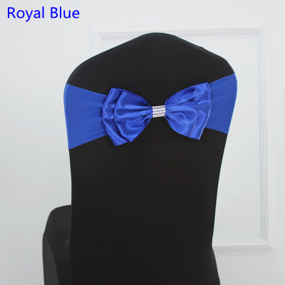 Royal Blue colour Satin chair sash Spandex chair sash bow tie Lycra fit all chairs wedding banquet hotel party decoration
