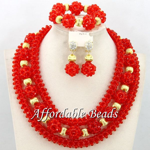 Deep Orange African Jewelry Sets Charming Wedding Jewelry Set Handmade Item Wholesale Free Shipping BN351 luxury african dubai jewelry sets hot wedding beads set handmade item wholesale free shipping ncd022