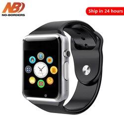Reloj inteligente Bluetooth sin fronteras A1, llamada de soporte deportivo, música 2G con cámara SIM TF, reloj inteligente para Android PK iwo 8 DZ09 GT06