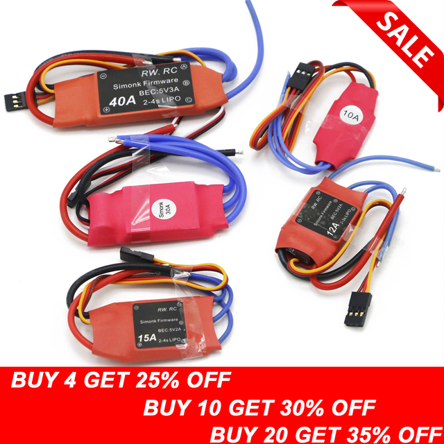 Simonk 10A/12A/15A /20A /30A Firmware Electronic Speed Controller ESC for RC Multicopter Helicopter