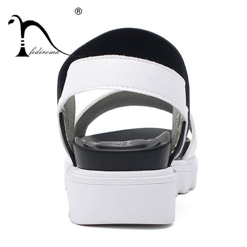 Summer Genuine toe Fediroma Woman Mujer Sandals Sandalias Black Roman Leather Flat Peep Shoes Women blanc zfdqdAHw