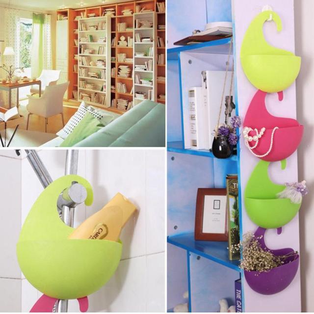 New Creative 4PCS/set Plastic Wall Hanging Storage Baskets Shower Bath Rack  Organizer Container