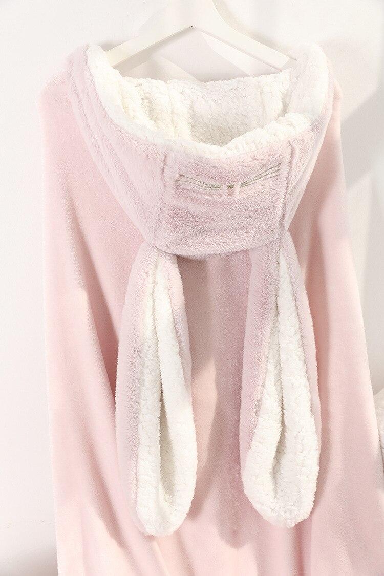 Cute Pink Comfy Blanket Sweatshirt Winter Warm Adults and Children Rabbit Ear Hooded Fleece Blanket Sleepwear Huge Bed Blankets 151