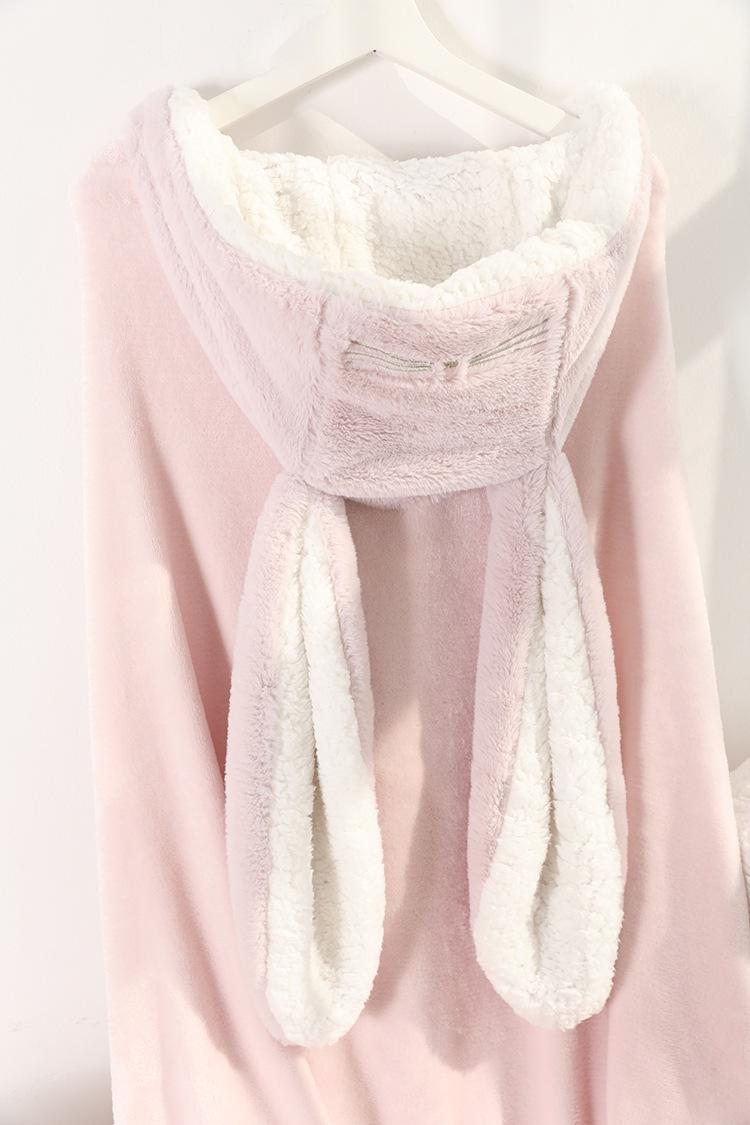 Cute Pink Comfy Blanket Sweatshirt Winter Warm Adults and Children Rabbit Ear Hooded Fleece Blanket Sleepwear Huge Bed Blankets 152
