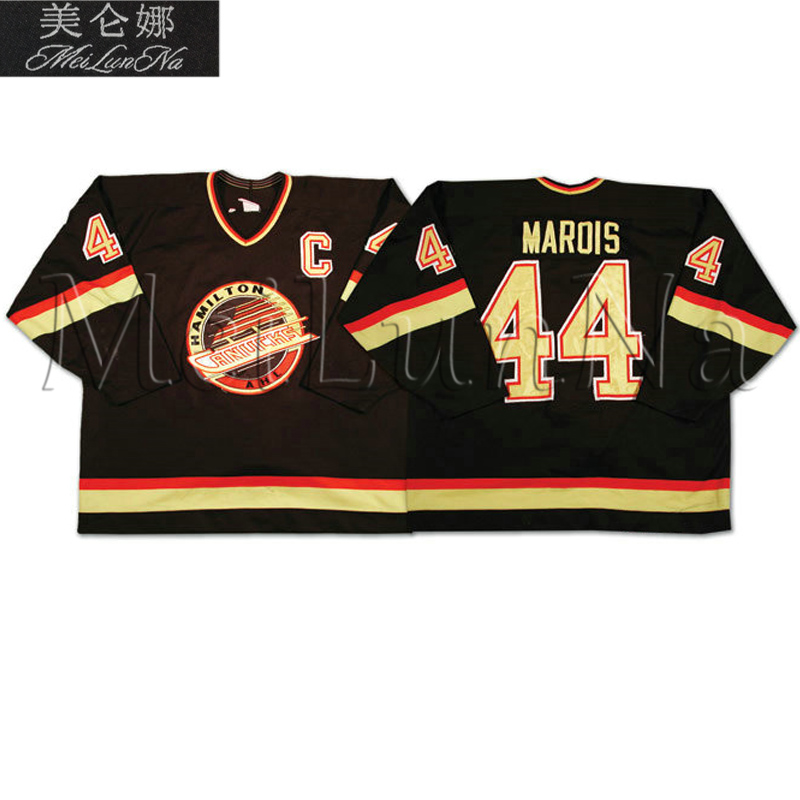 MeiLunNa Custom AHL Hamilton Canucks Hockey Jerseys 44 Marois White Black Home Road Sewn On Any Name NO. Size