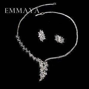 Image 5 - Emmaya 새로운 독특한 디자인 초커 목걸이 스터드 귀걸이 신부 보석 세트 웨딩 액세서리 dropship