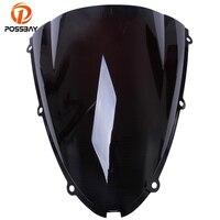 POSSBAY Dark Smoke Motorcycle Windshield Double Bubble Scooter Windscreen For Kawasaki ZX6R 2005 2006 2007 2008 05 06 07 08