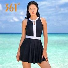 361 Women Skirt Swim Suit Beachwear Lady Swimsuit Dress Black Swimwear M-XXL Hollow Out Bathing Suits Padded Swimming