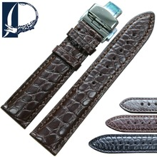 Pesno Beauty Texture Black Dark Brown Crocodile Leather Alligator Skin Watchband with Butterfly Style Buckle