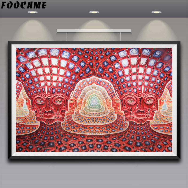 Alex Grey Oversoul Trippy Psychedelic Abstract Art Silk