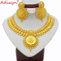 Adixyn Indian Big Heavy Jewelry Sets For Women Gold Color Necklace/Earrings African/Dubai/Arab Wedding Jewelry Gifts N03145