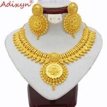 Adixyn Indiano Conjuntos de Jóias Para As Mulheres da Cor do Ouro Grande Pesado Colar/Brincos Africano/Dubai/Jóias De Casamento Árabe presentes N03145