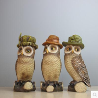Three cute owl crafts, home decor gifts, beautiful birds, American country style