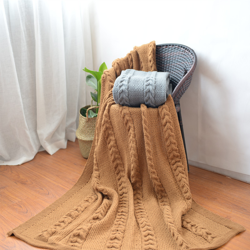 Cozy Winter Keep Warm Acrylic Knitted Blanket Thick Nap Sofa Blanket Brown Grey Color Oversize