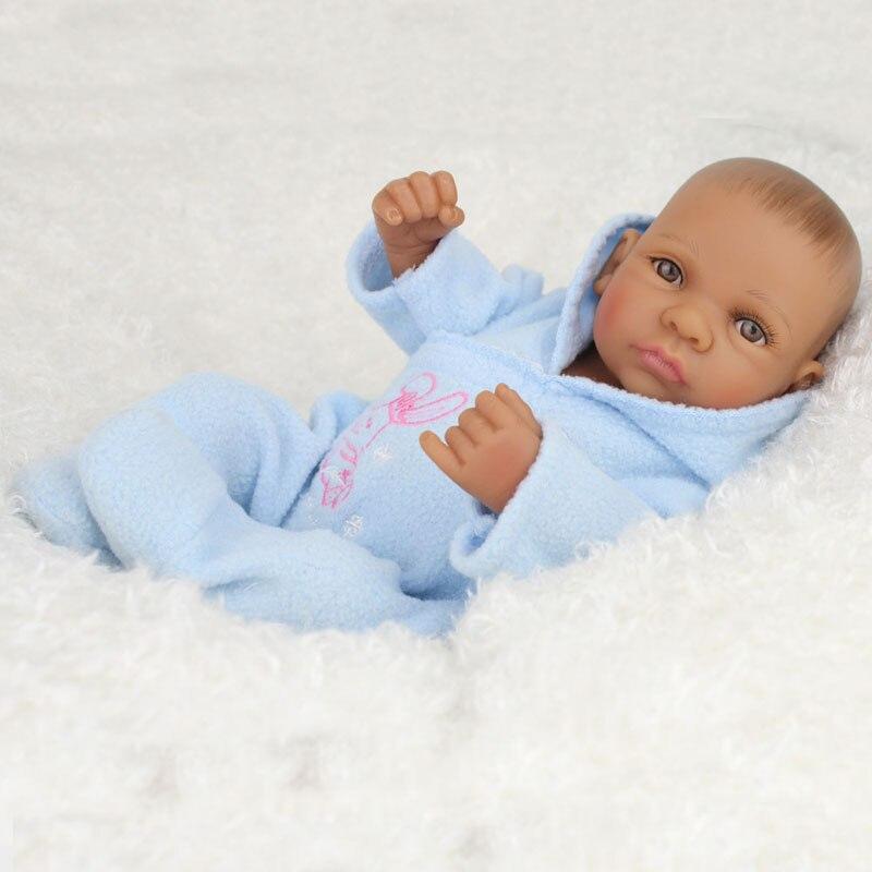 New Silicone African American Baby Doll Black Boy 28cm