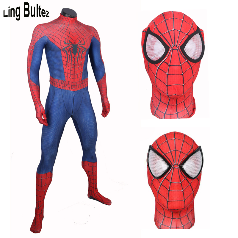 Ling Bultez Crotch Zipper Spiderman Costume New Amazing Spiderman Suit Adult For Halloween Amazing Spiderman 3D