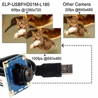 ELP High frame rate 120fps 1080p fisheye 180 car reversing camera usb2.0 ELP USBFHD01M L180