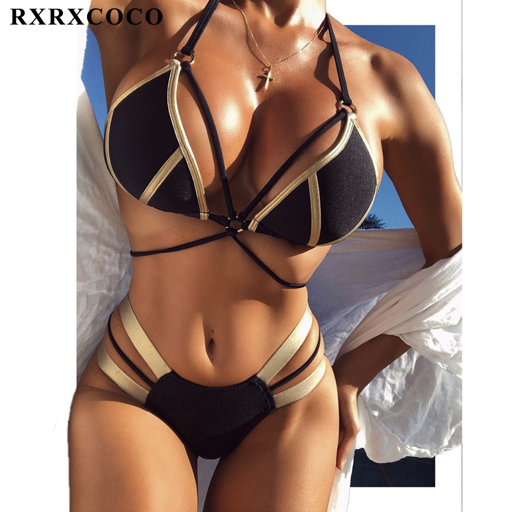RXRXCOCO Sexy Push Up Bandage Bikini 2018 Hot Swimwear Women Bathing Suit Push Up Brazilian Bikini Swimsuit Thong Bikinis Women sixia sexy low waist swimwear women bikini set 2018 swimsuit bathing suit women bikinis push up african brazilian thong biquini