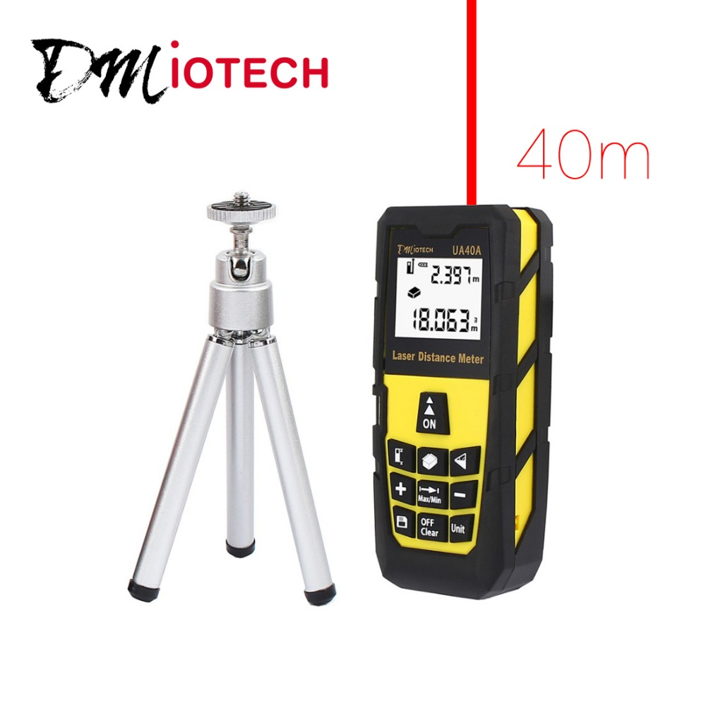 DMiotech 131ft 40M Digital Laser Distance Meter Measure Rangefinder Yellow w Tripod  dmiotech 262ft 80m mini handheld digital laser distance meter rangefinder red with tripod