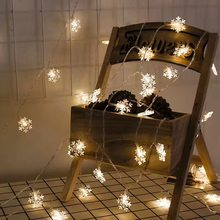 10Leds Christmas Tree Snow Flakes Led String Fairy Light Xmas Party Home Wedding Garden Garland Christmas Decorations(China)