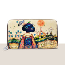 2016 Fashion Women Genuine Leather Japan Kimono Girl Freehand Painting Bag Wallet Card Money Holder Clutch Wallets Phone Pocket