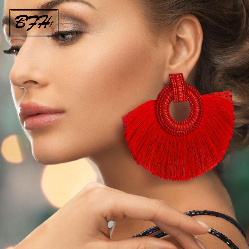 BFH Fashion Bohemian Big Tassel Earrings Statement Red Tassel Vintage Silk Fabric Drop Dangle Earring For Women 2019 Jewelry