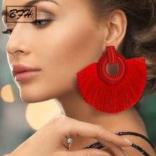 BFH moda Bohemia grandes pendientes de borla declaración borla roja Vintage tela de seda gota colgante pendiente para mujer 2019 joyería